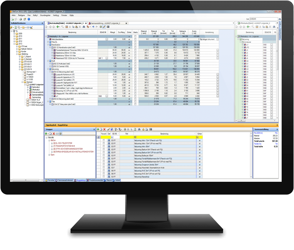 a calculation platform databases templates and dynamic bidcon monitor