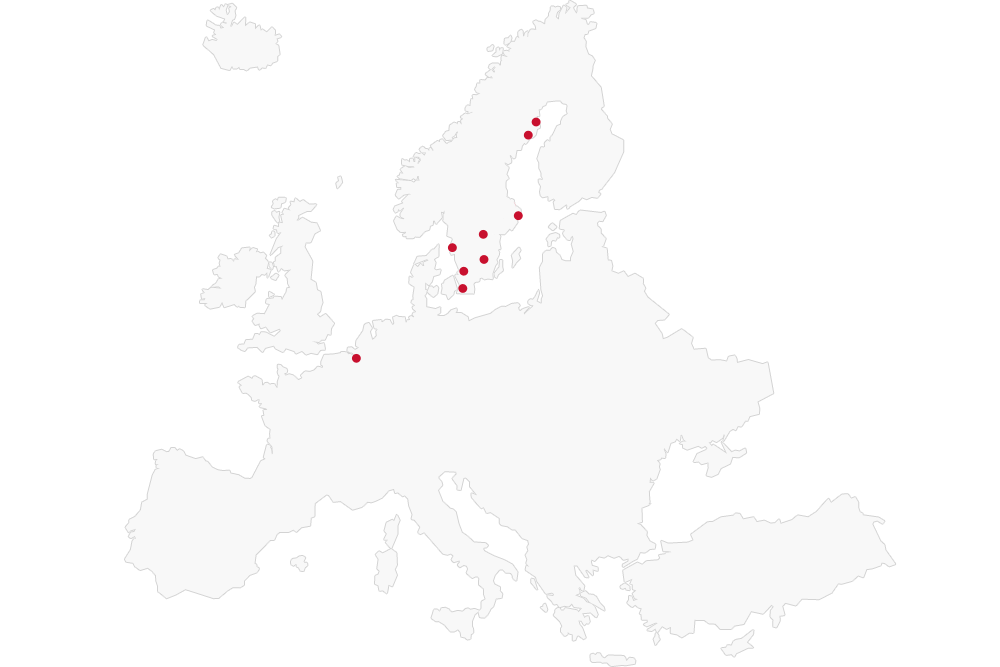 Map of Elecosft offices in Europe