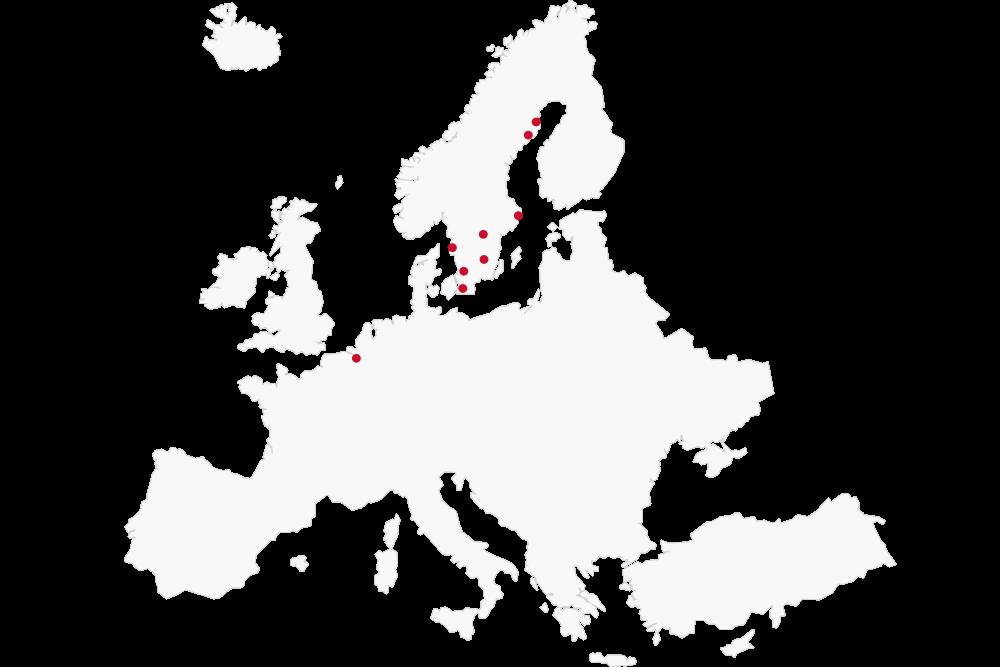 Karta över Consultecs kontor i Europa